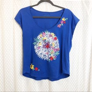 DESIGUAL • Blue floral embroidered tee